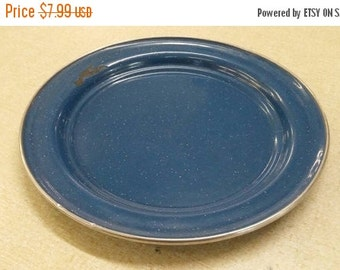 On Sale Country Kitchen Blue and Black Enamel 8.5 inch Luncheon Plate Rustic Home Decor