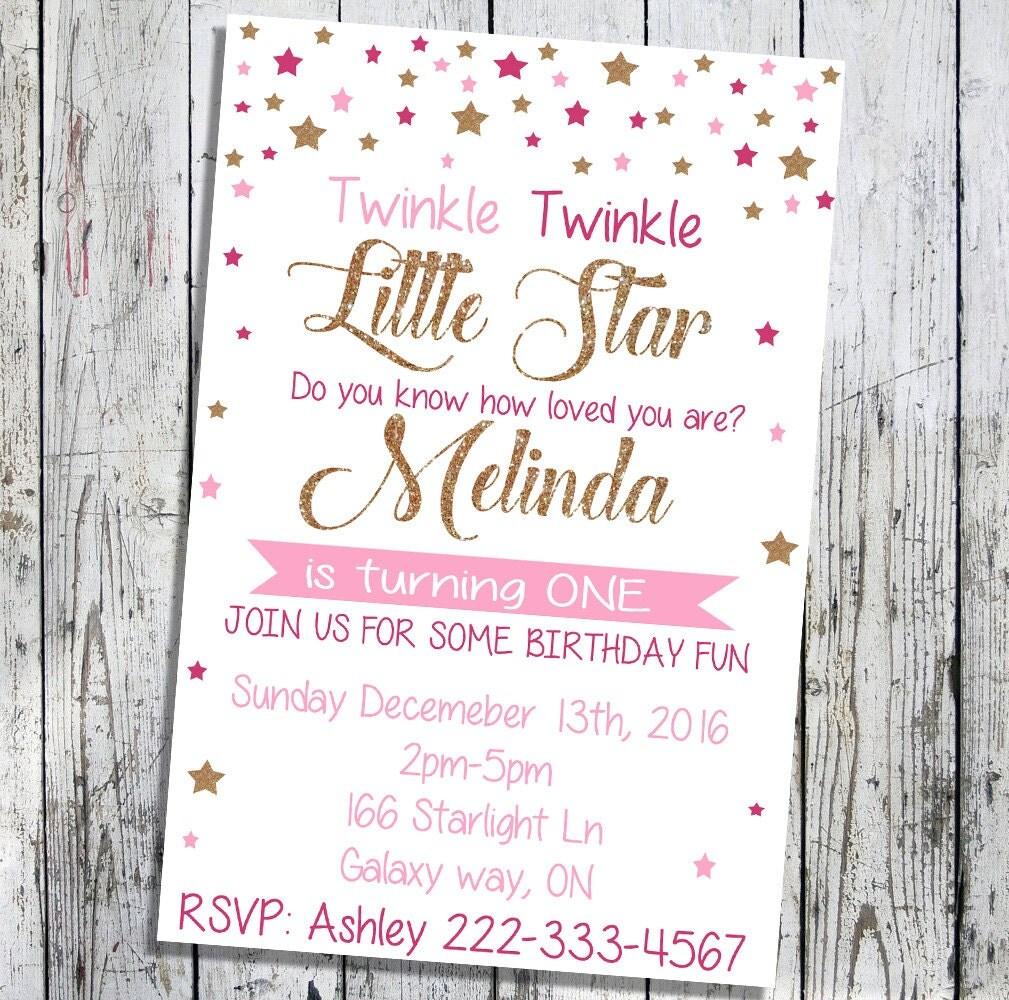 Twinkle twinkle little star birthday invitation, little girl ...