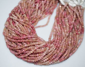 Fine Quality Natural Rhodonite Rondelle Faceted Beads 3.5 mm , Rhodonite gemstone beads 13 inch Strand CM11
