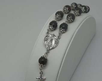 Barb Chaplet Bracelet made with black stone beads (decade chaplet) (BRB8)