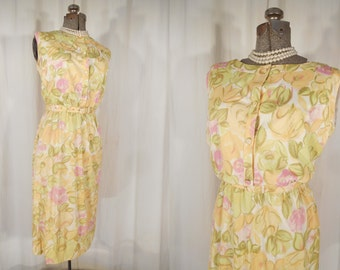 Vintage 1960s Dress - Large Wiggle Dress, 60s Yellow Pink Floral Summer Dress, Pin Up Dress, Mad Men Dress