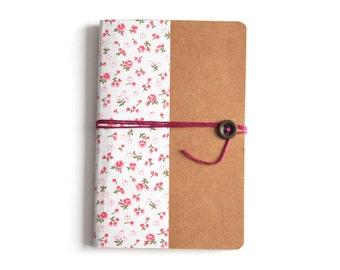 Notebook handmade format A6 - floral pattern