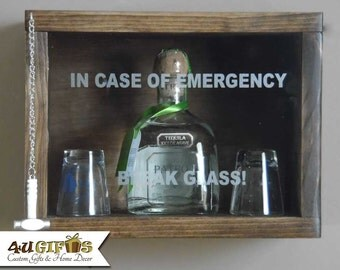In Case of Emergency Break Glass, Patron or Similar Size Bottle, Liquor Lovers Gift, Bar Decor, Tequilla Lover Gift, Shadow Box, Man Cave