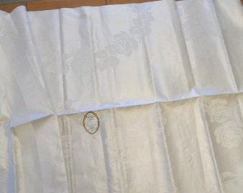 """Linen damask tablecloth / vintage, Scotland, unused, Hudson's, 70"""", ivory NOS"""