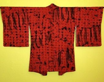 Vintage Japanese Silk Women's Shibori Haori Kimono Jacket