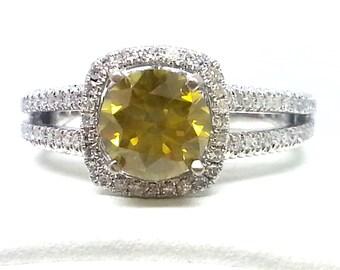 1.76ctw Round Yellow and White Diamond Engagement Ring Size 5.75