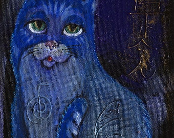 Original acrylic painting on board- Kitty with Reiki symbols