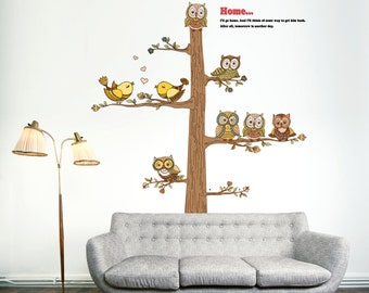 Get Him Back Home Owl Theme Wall Sticker for Home Decor
