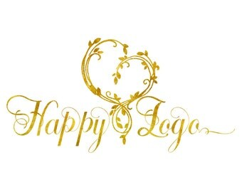 DIGITAL Custom logo design, gold heart logo, heart branches Logo watermark, Gold Business Logo, heart design, logo design gold heart,