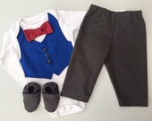 CUSTOM ORDER, choose your own colours, Baby suit and shoes, little boys wedding outfit, baby boy clothes, baby tie, boys vest and tie, page