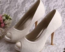 Custom handmade ivory red white black silver Lace Bridal wedding satin Peeptoe platform high heels