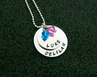 Hand Stamped Name Necklace with Birthstone Charms