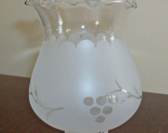 Antique Vintage Lampshade Fluted Glass Frosted/Clear Shade