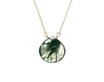 ON SALE Moss quartz necklace - rutilated quartz - teardrop - a moss green rutilated quartz crystal wire wrapped onto a 14k gold vermeil chai