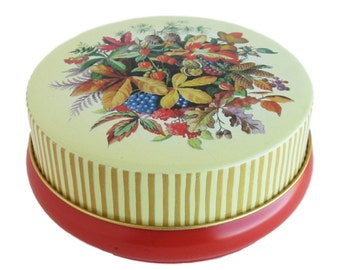 Vintage Candy Tin Riley's Toffee Tin Floral Tin Made in England Lithographed Tin Vintage Toffee Tin Vintage Tin Trinket Dish Storage Tin
