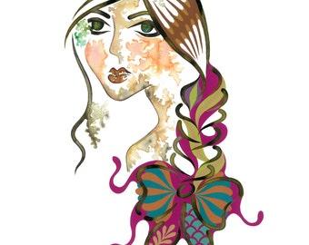 Delta, A3 Giclée Art Print, Colourful Fashion Illustration, A3 Girly Wall Art, A3 Fashion Illustration, Fashionable Wall Art, Fashion Art,