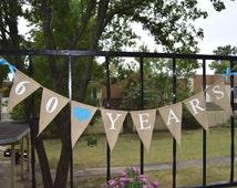 Custom Burlap Banner Happy Birthday 60 Birthday Banner 10th, 20th,30th,50th Bunting Garlands