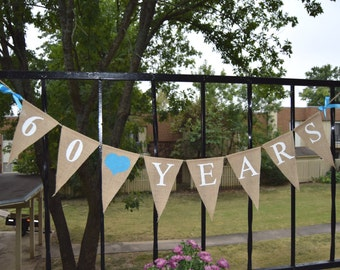 Custom Burlap Banner Happy Birthday 60 Birthday Banner 10th, 20th,30th,50th Bunting Garlands
