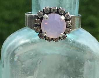 Ring/Swarovski Crystal/Rosewater Opal/Antique Silver