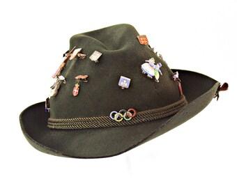 German Alpine Hat, Bavarian Hat, Tyrolean Hat, Oktoberfest Hat, German Hat Pins, Kreuzeck Hair Pin, Fritz Gunzrodt Garmisch, Monchen Pin