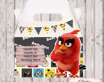 Angry Birds Party Favor Boxes, 10 Angry Birds Gable Boxes