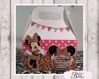Minnie Mouse Leapard print party favor box, Minnie Mouse gable box, 10 Minnie Mouse party favor gable box, Red Minnie Mouse favor box