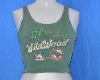 90s Wildwood New Jersey Olive Green Vintage Cropped Tank Top t-shirt Women's Small