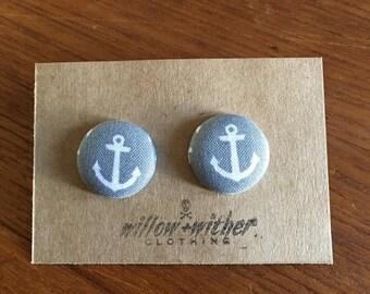 Anchor fabric button earrings