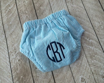 Baby boy Seersucker Diaper cover with circle Monogram-newborn gift-babyshower gift-boy diaper cover