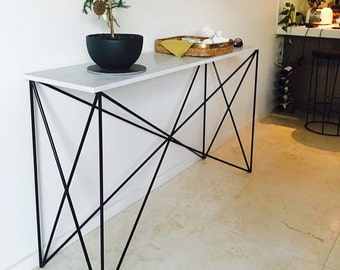 White Italian Marble Criss Cross Console Table