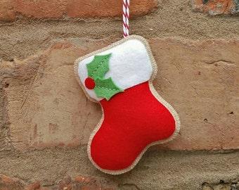 Handmade Felt Christmas stocking ornament