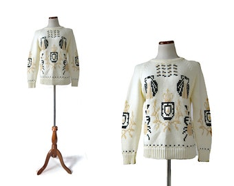 Fisherman Sweater / White Sweater /  Vintage Sweater / Unisex Sweater Crown Crab Sweater / Vintage Clothing Tops Sweaters
