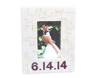 Custom Mosaic Wedding Date Frame in White and Purple Mosaic Stained Glass Tiles, Personalized Wedding Gift - 4x6 or 5x7