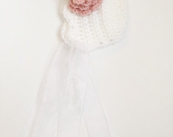 Vintage Baby Bonnet, Crochet Baby Bonnet, Vintage Baby Hat, Baby Girl Bonnet, Flower Bonnet, Lace Bonnet, Newborn Bonnet, Newborn Photoprop