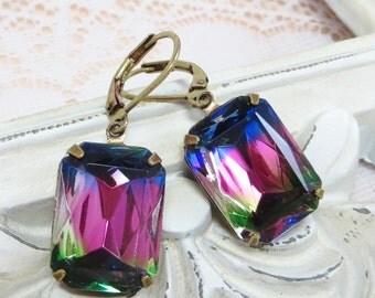 Iris Glass Earrings Rhinestone Earrings RARE Dark Iris Rainbow Jewel Tone