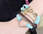 5 Strand Brown and Blue Love, Heart Cross Bracelet - 5 Strand Leather Braided Wrapped Cross Bracelet