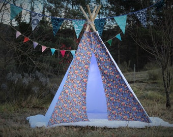 tipi / tepee / tipi / teepee Tent  Flowers Denim  .  4 POLES INCLUDED