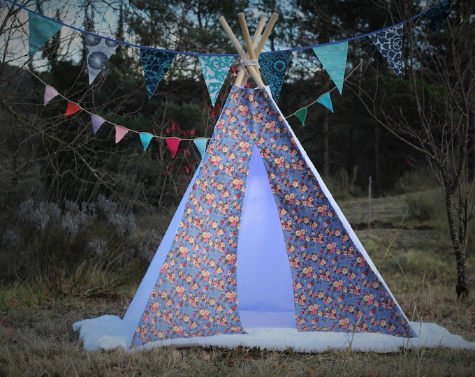 tipi / tepee / tipi / teepee Tent  Flowers Denim  .  4 POLES INCLUDED