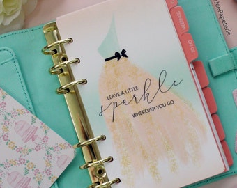 """Planner DASHBOARD, A5, Personal, Half-Letter: """"Leave a Sparkle Wherever You go"""" with Peach & Mint Ombre background, 5-mil Laminated"""