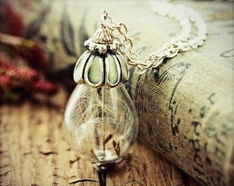 Dandelion Wish Necklace Dandelion Seed Jewelry Make A Wish Pendant Glow In The Dark Teardrop Bottle Glass Vial Silver Pendant