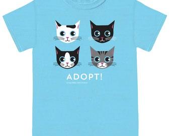 ADOPT CAT T-shirt Ocean Blue Unisex Cat Tee Shirt