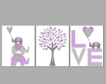 Purple and grey Nursery Art Print Set, Kids Room Decor, Children Wall Art - Tree, love, baby elephant, love art, stacked elephants, UNFRAMED