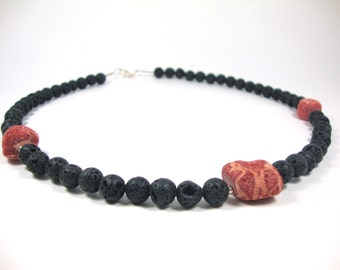 FREE SHIPPING Santorini Natural Black Volcanic Lava 8 mm - Raw Red Coral 10 x 15 mm - Necklace 53 cm - 21 inches