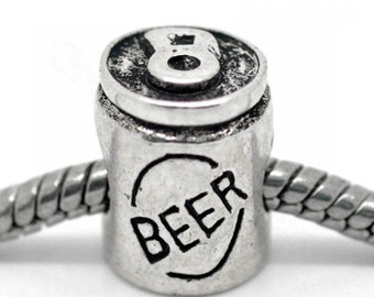 Beer Can-European Charm Bead For All Large Hole Charm Bracelet And Necklace Chain.
