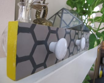 Honeycomb Handmade Wall Hook With Reclaimed Porcelain Knobs--Gray/Taupe, Dark Gray, and Mustard Yellow