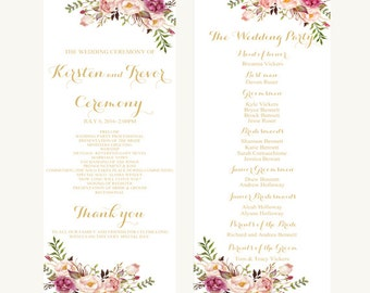 Printable wedding program, Wedding program, Blush wedding program, Custom wedding program, Gold wedding program, Floral wedding program