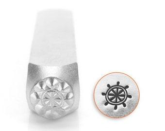 Shipwheel design metal stamp , nautical metal punch , ImpressArt - 6mm