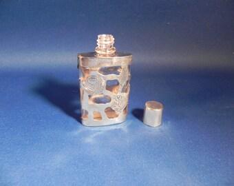 Vintage Perfume Bottle Sterling Silver Overlay Rose & Leaf Design Hallmarked Sterling RM