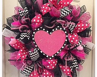 valentine pink heart deco mesh wreathvalentine wreathpink valentine wreathpink poke