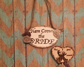 Art-Woodburned here comes the bride plaque and cake topper